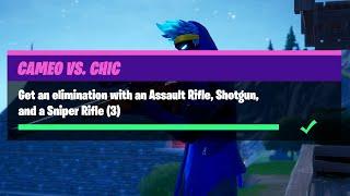 Get an Elimination with an Assault Rifle, Shotgun, and a Sniper Rifle (3) - Cameo Vs Chic Challenges