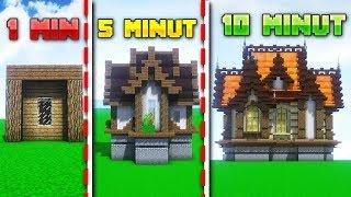 BUDUJĘ DOMEK w 1 MINUTĘ, 5 MINUT i 10 MINUT w MINECRAFT!