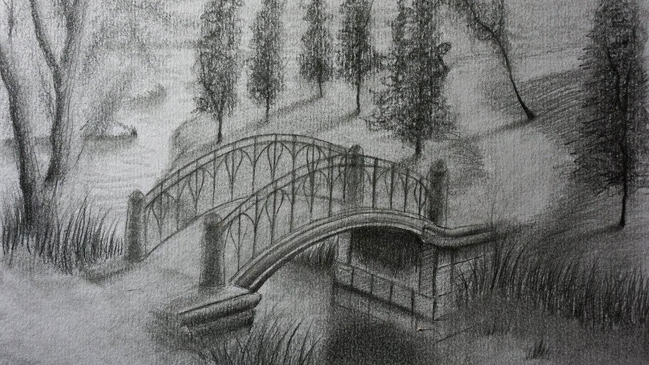 Cómo Dibujar Un Puente A Lápiz Paso A Paso Paisaje Para Niños