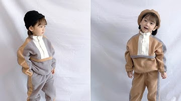 꾸꾸엔젤_아노락 배색 상하복세트_아동복_유아상하복