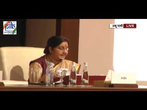 Union Minister Sushma Swaraj addresses 46th Foreign Ministers Meeting of OIC in Abu Dhabi