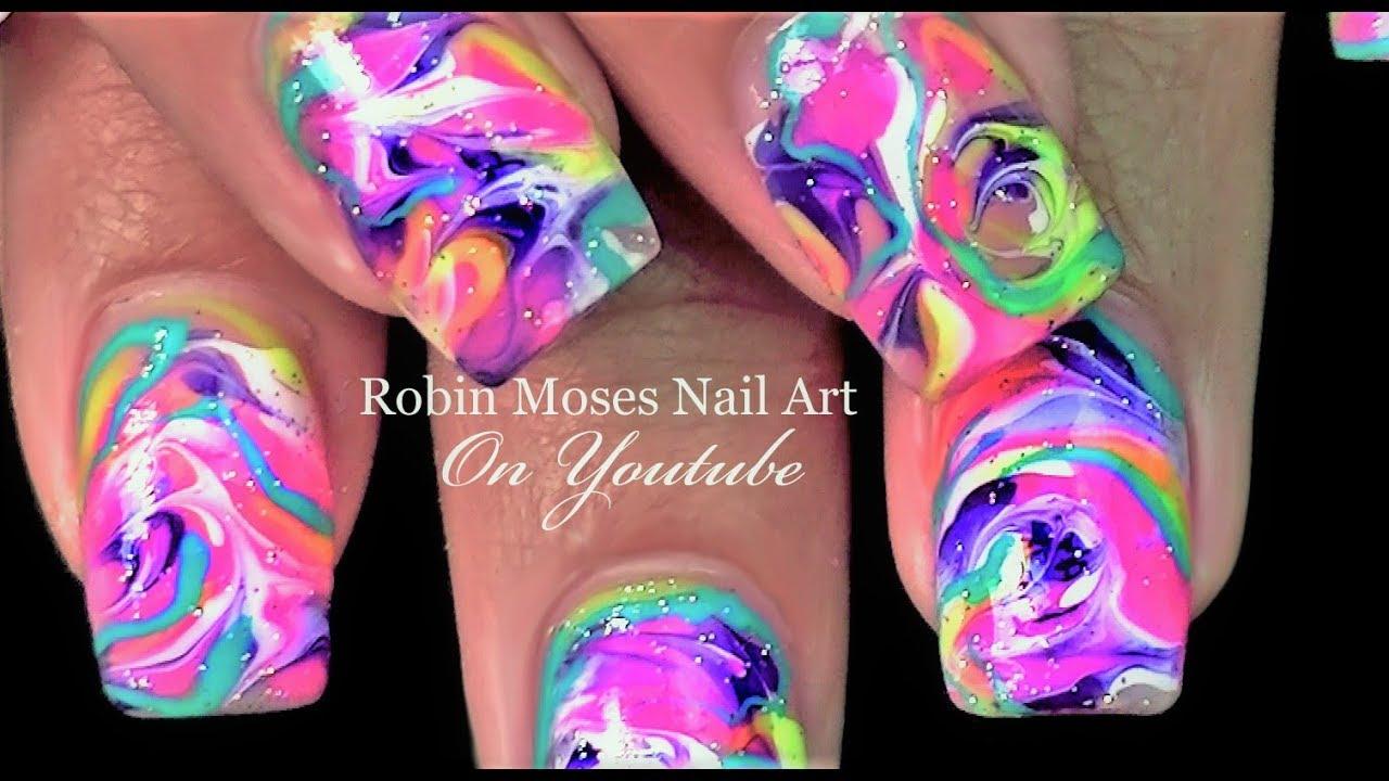 No Water Marble Nails | Rainbow Drag Nail Art Design Tutorial ...