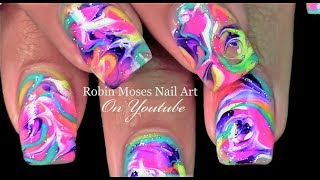 No Water needed! Neon Nails in Rainbow Drag Marble Nail Art Tutorial
