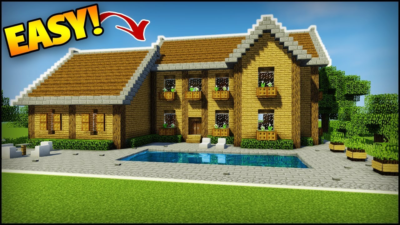 Minecraft Survival Starter Mansion How To Build A House Mansion