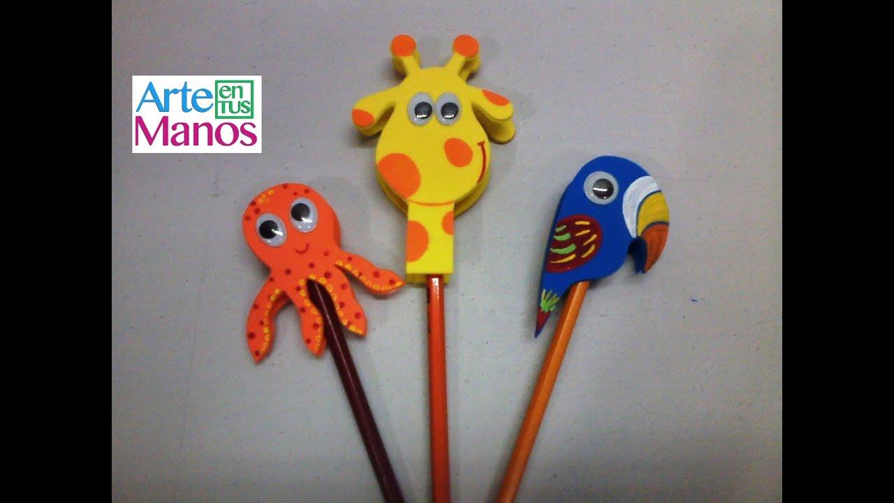 Animales en foami para decorar lapices paso a paso sencillo youtube - Figuras para decorar ...