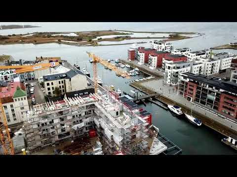 Bygget på stadskajen i Landskrona fortskrider