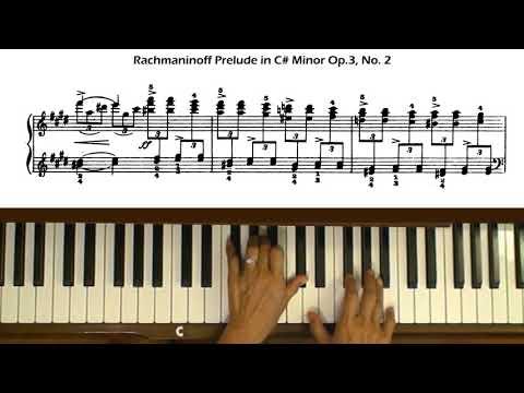 Rachmaninoff Prelude in C sharp minor Op. 3, No. 2 Piano Tutorial with Score
