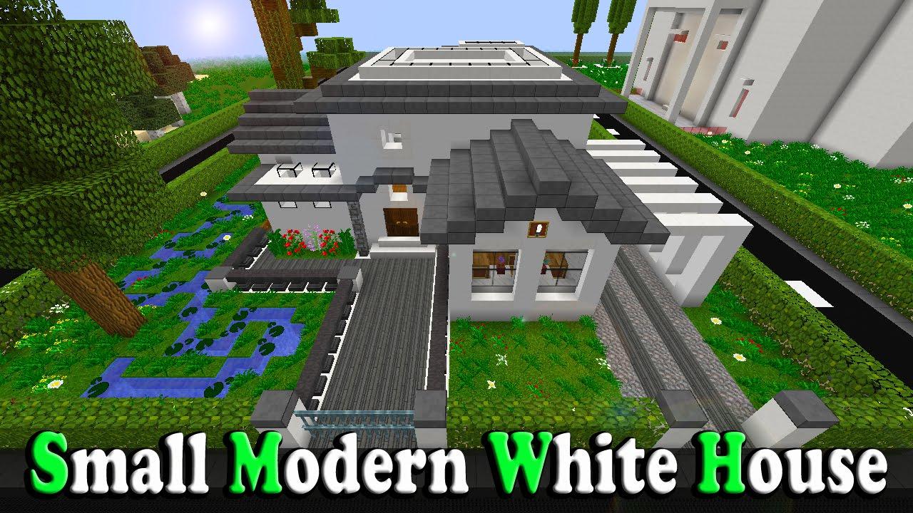 Minecraft small modern white house