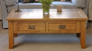 Rustic Oak Coffee Table With Drawers - Pinesolutions