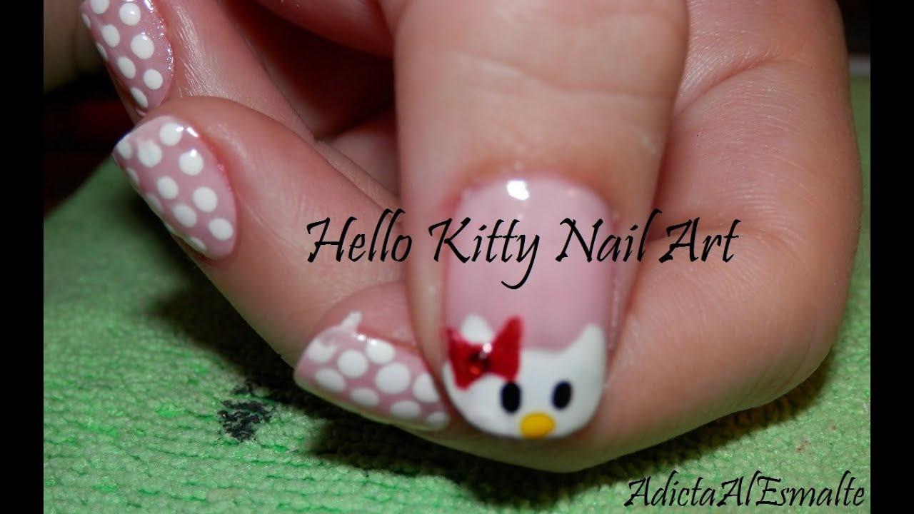 Tutorial Diseño de Uñas de Hello Kitty Paso a Paso , Hello Kitty Nail Art , YouTube