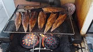연탄위에 지글지글 고등어 생선구이