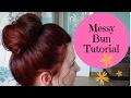 How to do Messed up loose bun hair tutorial - big high messy bun prom hair wedding bridesmaids