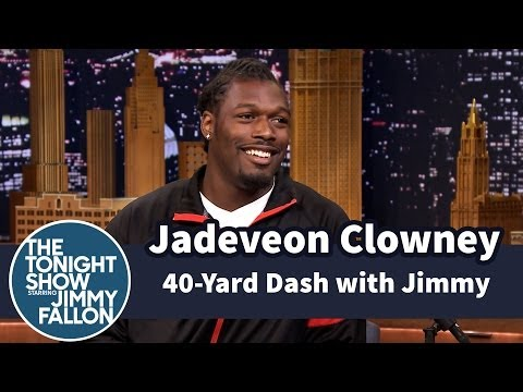 Jimmy Does 40-Yard Dash with Jadeveon Clowney