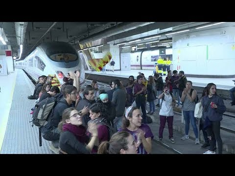 Students occupy train tracks at Barcelona's Sants station