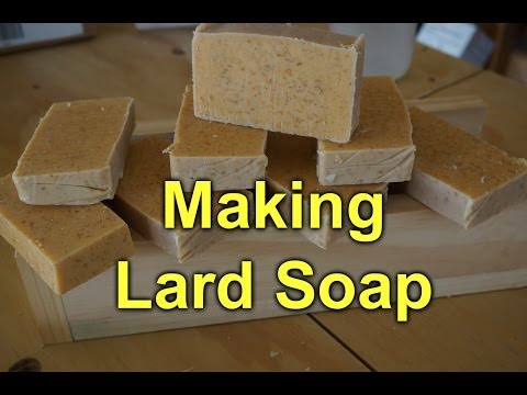 Making lard soap with oats and honey