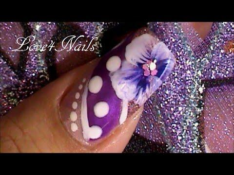 Decoracion De Unas Lindas Color Lila Y Morado Youtube
