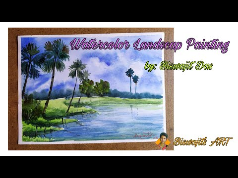 Watercolor Landscap Painting Demonstration for Beginners | Easy Watercolor Painting Step by step.