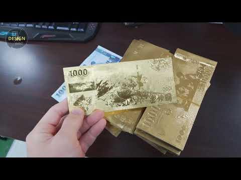 實拍影片 新年開運小物 金色鈔票 雙面開運錢母 開運金箔錢母 2000元 1000元 雙面立體金鈔 開運錢母【HF61】