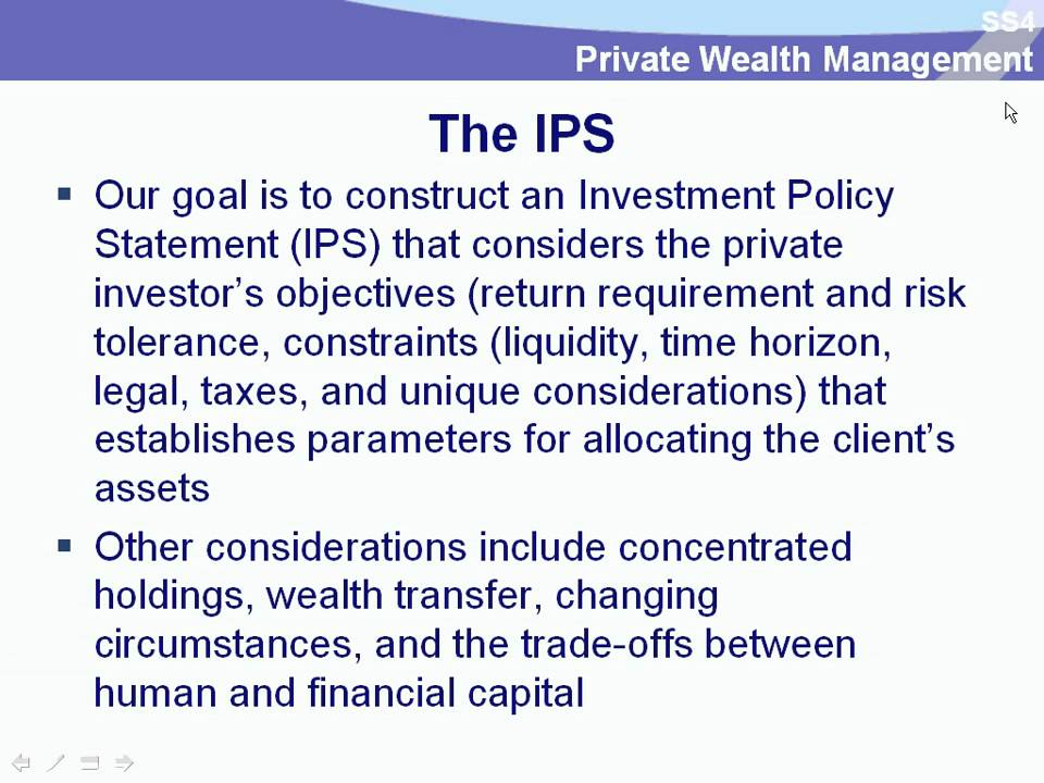 CFA Level 3 - Investment Policy Statement - Dr Carl Crego PhD, MBA