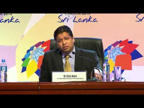 Press Conference by Dr. Chris Nonis during CHOGM 2013 @ CHOGM Media Center on 17th Nov. 2013