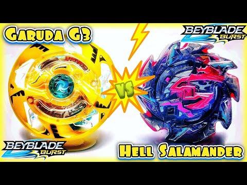 Can HELL SALAMANDER Beat Tournament Banned GARUDA G3? Beyblade Burst Hasbro vs Takara Tomy Battle