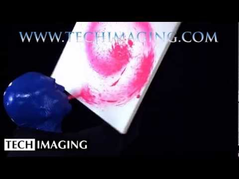 High Speed Camera Video - Blueman making a painting