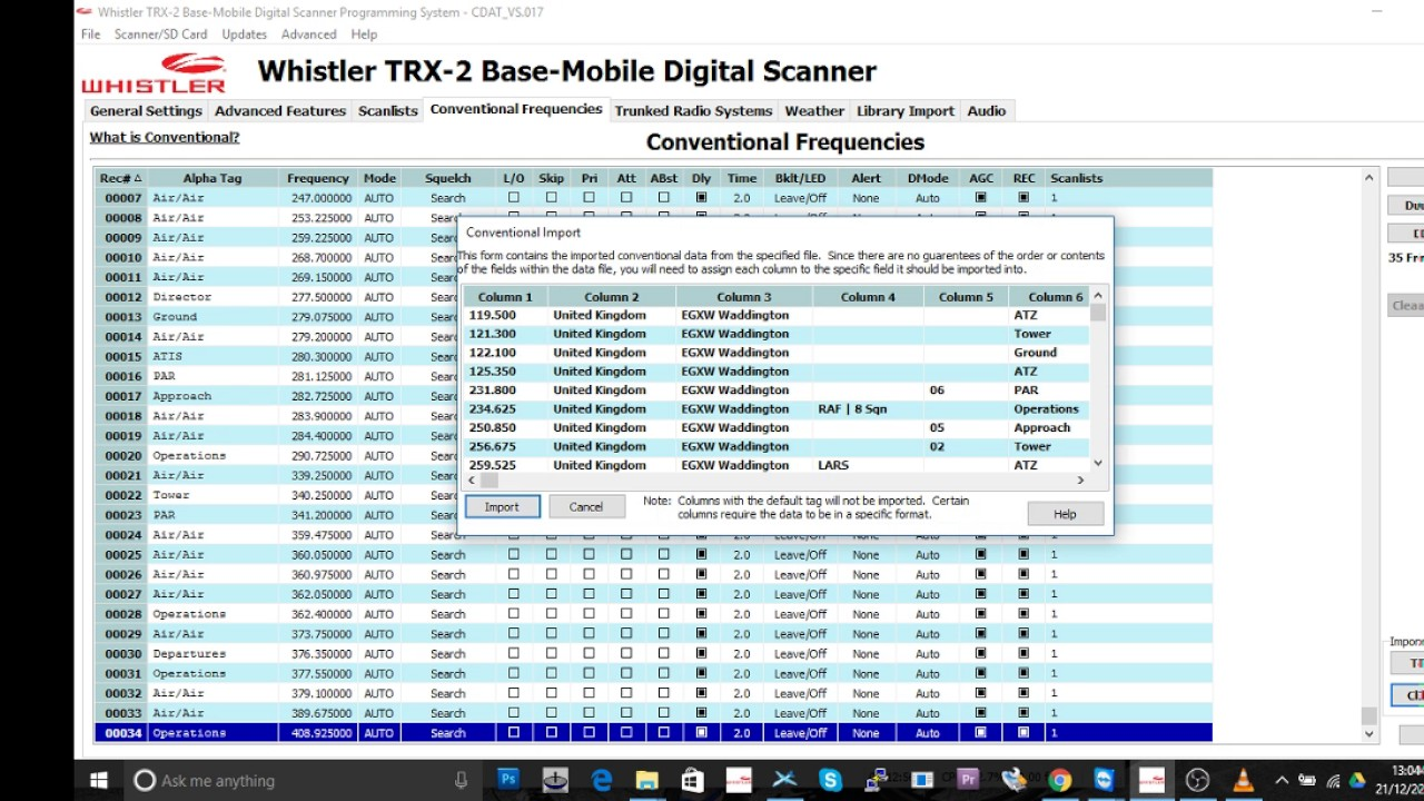 Whistler TRX-2 Tutorial 2 How To Import Frequencies