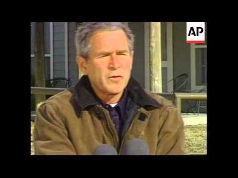 President George W Bush address from ranch