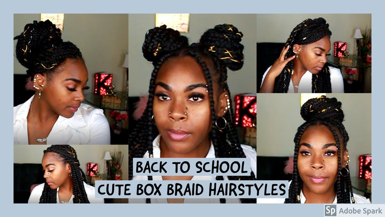 5 Cute Back To School Box Braid Hairstyles Youtube