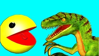 pacman vs raptors ♫ 3d animated dinosaur game mashup ☺ funvideotv   style