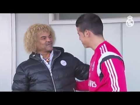 Valderrama visitó a James en la Ciudad Real Madrid
