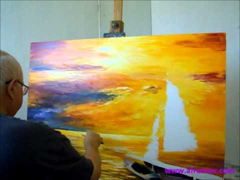 Artist Leonid Afremov Painting A New Painting Of Seascape