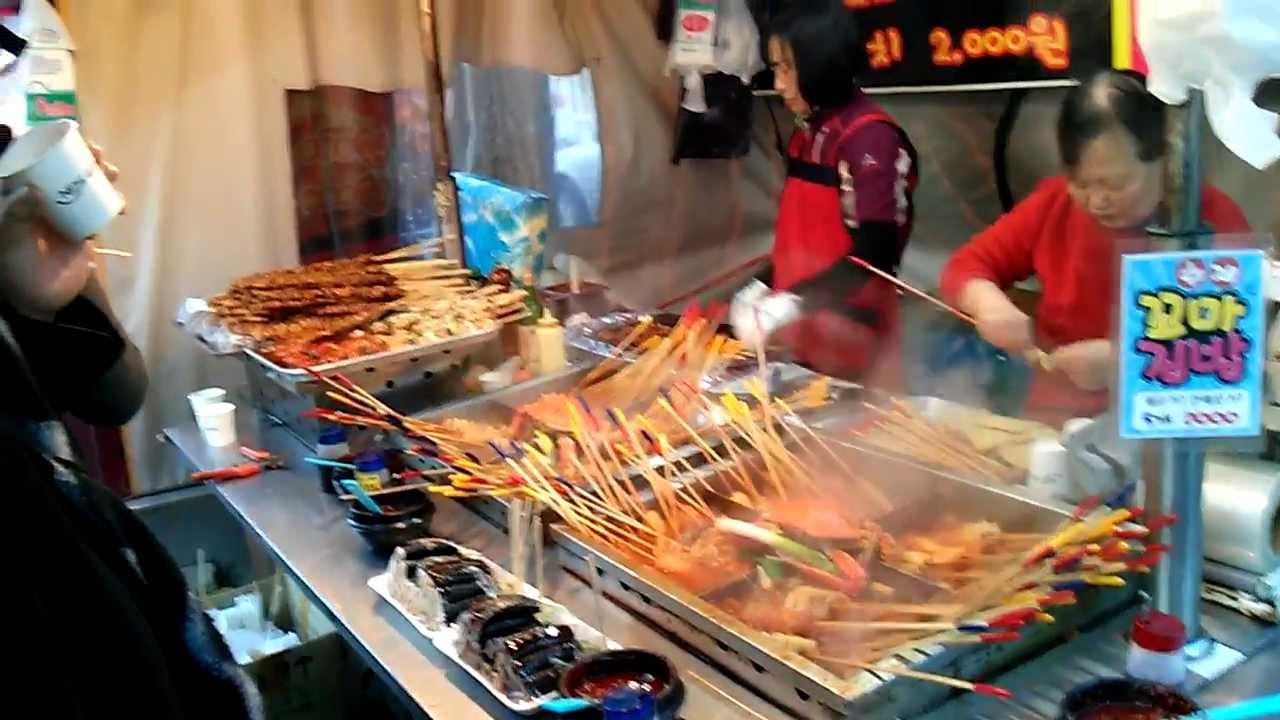 Puestos de comida callejera en Seúl, Corea del Sur - YouTube