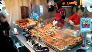 Puestos de comida callejera en Seúl, Corea del Sur