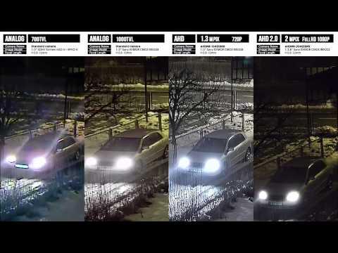 Porownanie działania w NOCY ANALOG VS AHD 2MPIX - Kamera AHD FullHD - IMX222 NVP2441H