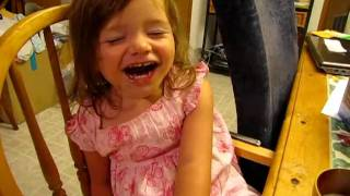 Funny Snoring Baby Sleeping in High Chair Lexi 2 years old