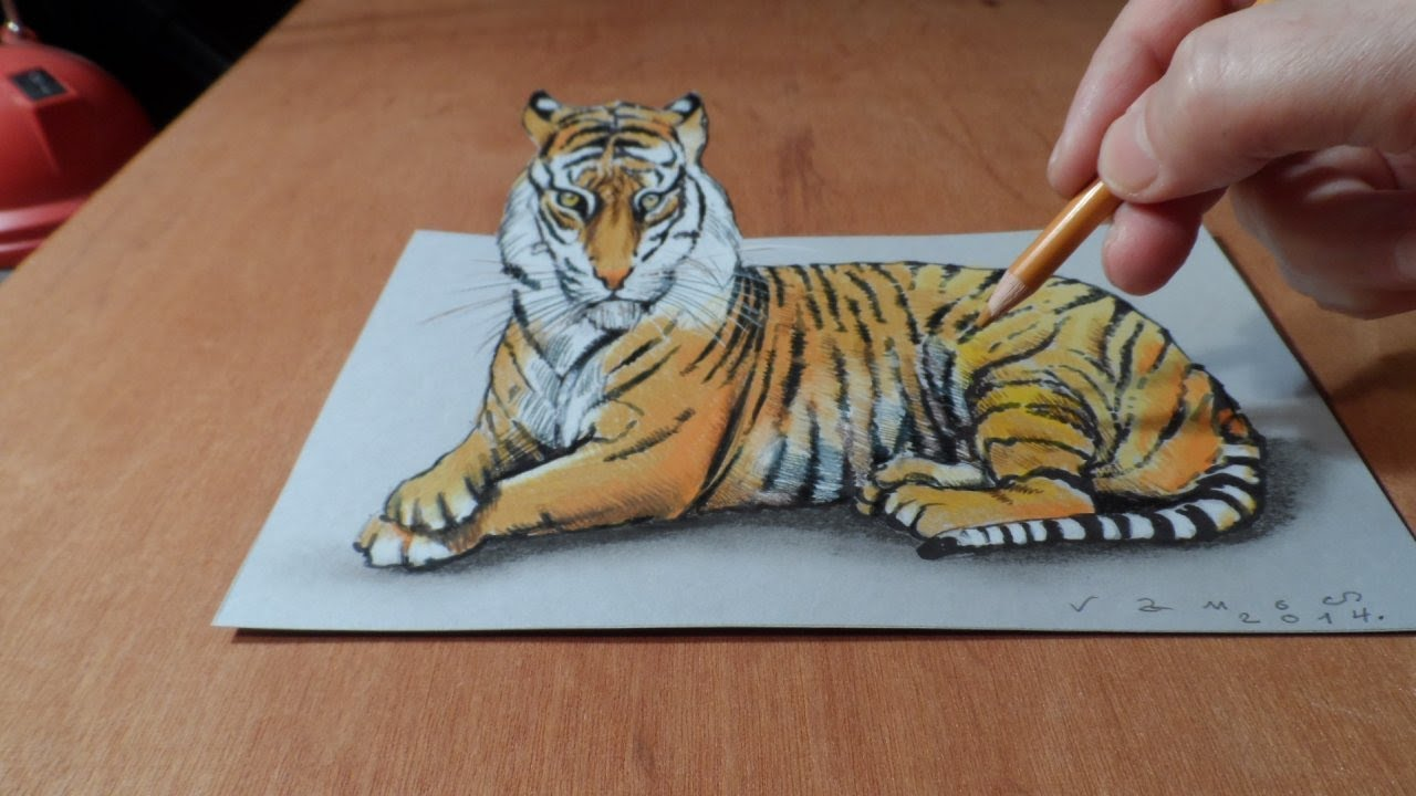 Drawing 3d tiger how to draw a tiger trick art on paper by vamos youtube