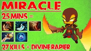 Miracle- Dota 2 - 9k MMR Ember Spirit - 25 Mins = 27 Kills and Divine Rapier