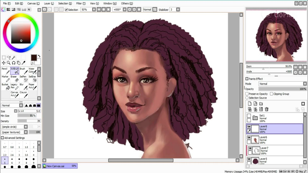 draw curly coily hair