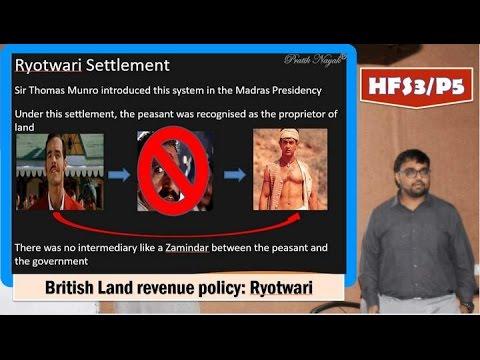 HFS3/P5: British India: Land Revenue system-Ryotiwari & Thomas Munro