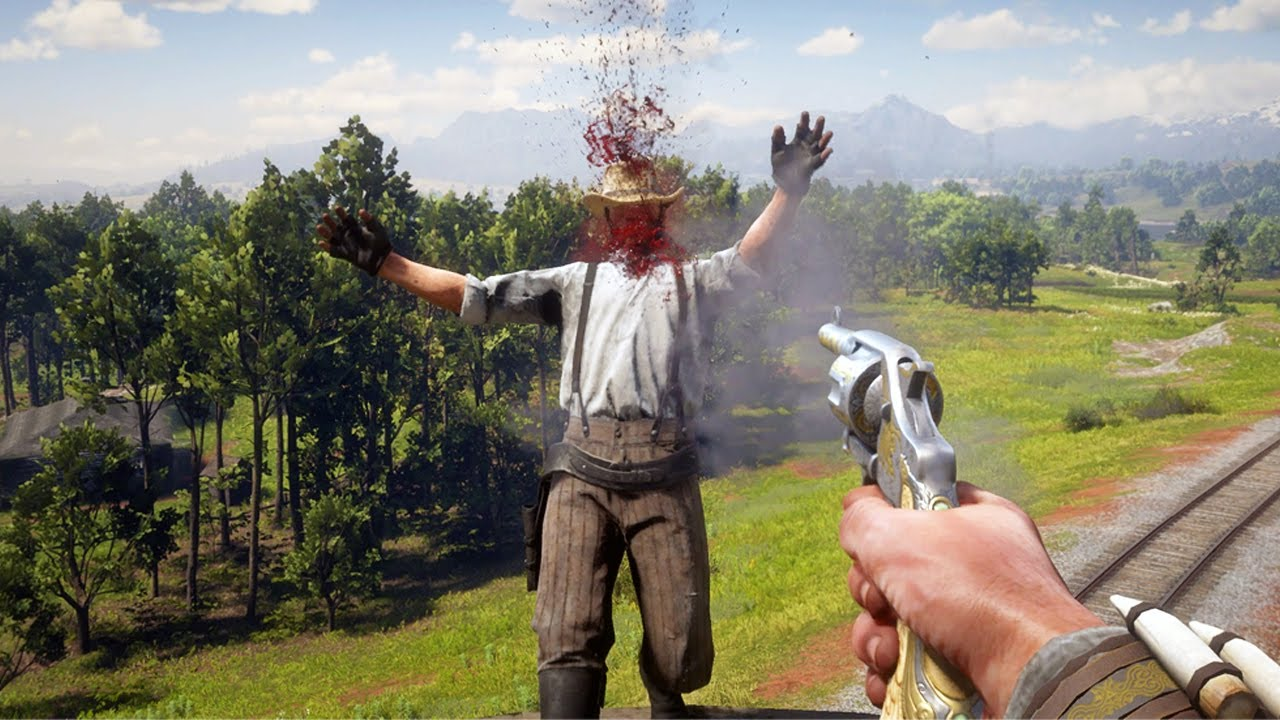 Red Dead Redemption 2 PC 60FPS - First Person Brutal Gameplay Vol. 54 (Euphoria Ragdolls)