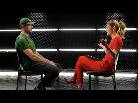 Aaron Rodgers with Erin Andrews