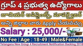 Government Jobs | Group 4 Junior Assistants,Supervisor,Typist Recruitment In Nizamabad | job search