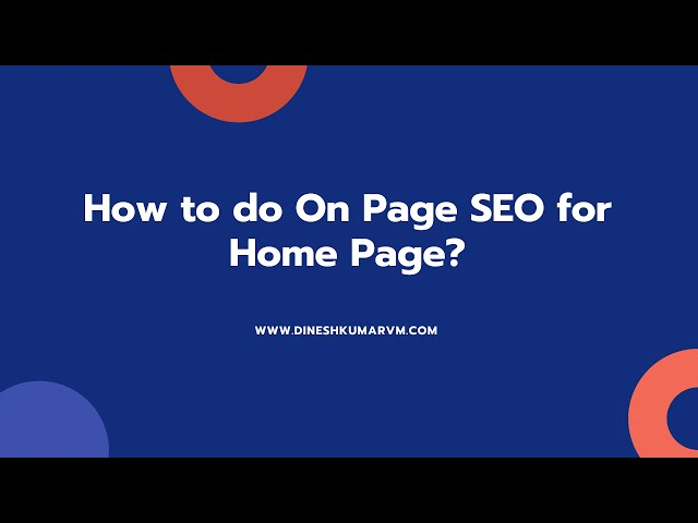 How to do On Page SEO for Home Page? | On Page SEO Tips | Optimizing Home Page SEO