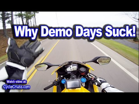 why i don't test ride motorcycles at demo days | moto vlog - youtube
