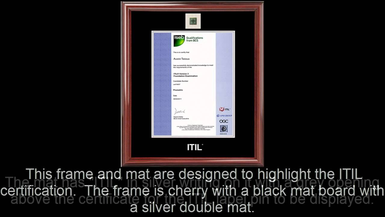 Itil Certificate Frame Cherry With Black Mat Lapel Pin Opening