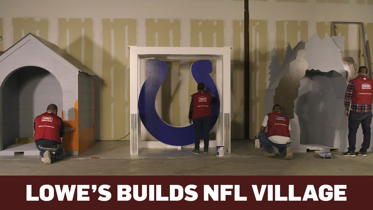Lowe S Builds A Village With Houses Themed To Nfl Teams Ahead Of The Super Bowl Youtube
