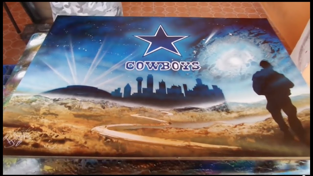 dallas cowboys spray paint art youtube. Black Bedroom Furniture Sets. Home Design Ideas