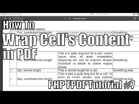 How to Wrap Cell's Content in PDF | PHP FPDF Tutorial #7
