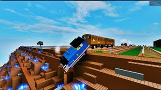 Thomas the Dank New Engines conduce a Thomas y sus amigos desde un acantilado hacia The Water Roblox